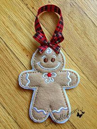 READY TO SHIP !!!!! Gingerbread Ornament made of Felt Approxa. 4 by 3 Great for hanging on tree, packages, cookies trays, gift, etc ....... Thank you, longvalleybears