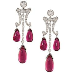 Rubelite Diamond Gold Drop Earrings | From a unique collection of vintage drop earrings at https://www.1stdibs.com/jewelry/earrings/drop-earrings/