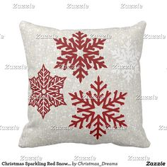 Christmas Sparkling Red Snowflakes Throw Pillow by @MagicWonderTags • On sale at http://TeeLoft.com/189013701620439839