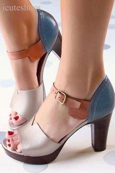 Elegant Ankle Strap Chunky Heel Sandals. 😊😊😊 #chunkyheels #sandalssummer #sandalsoutfit #sandalsheels #heels #heelsclassy #heelswithjeans #heelsprom #icuteshoes Ankle Strap Heels, Ankle Straps, Pumps Heels, Low Heels, Chunky High Heels, Thick Heels, Peep Toe, Cute Shoes, Women's Clothing