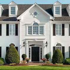 Things that inspire a classic white house black shutters love this white brick house with - The shutter clad house ...