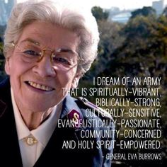 """Retired General Eva Burrows, international leader of The Salvation Army from 1986-1993, was """"Promoted to Glory"""" on Friday, March 20."""