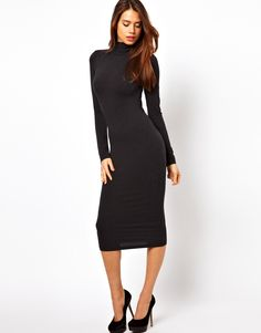 ASOS Midi Body-Conscious Dress With Poloneck And Long Sleeves