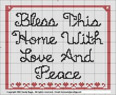 Bless This Home Cross Stitch Chart