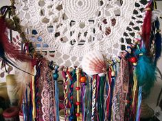 """- Made to order! -   """"Very Gypsy""""  #bohemian wall hanging dreamcatcher  Handmade of metal hoop wrapped with jute, crochet cotton doily,  plenty of colorfull stripes, laces, ... #etsy #boho #gypsy #hipster #dreamcatcher"""