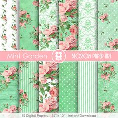 Roses in Mint Digital Paper, Garden Shabby Chic Digital Paper Pack, Wedding, Scrapbooking, Pink Vintage Roses - INSTANT DOWNLOAD  - 1868