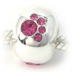 Animal Paw Print Sterling Silver Bead Charm w/ Pink Stones, fits Troll, Chamilia, Pugster European Bracelets
