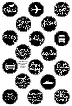 Travel With Flair stamps by Ali Edwards - 18 stamps on 4x6 sheet, a must!