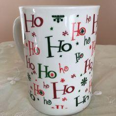 Holiday Ho Ho Ho Coffee Mug Large Hobby Lobby Xmas Snow Flakes Red Green White | eBay
