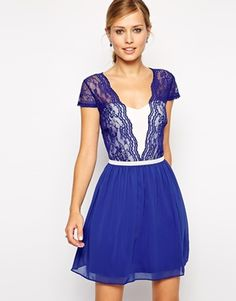 ASOS Scallop Edge Skater Dress in Cobalt Lace top with lined front, back with zip is unlined (lace only)