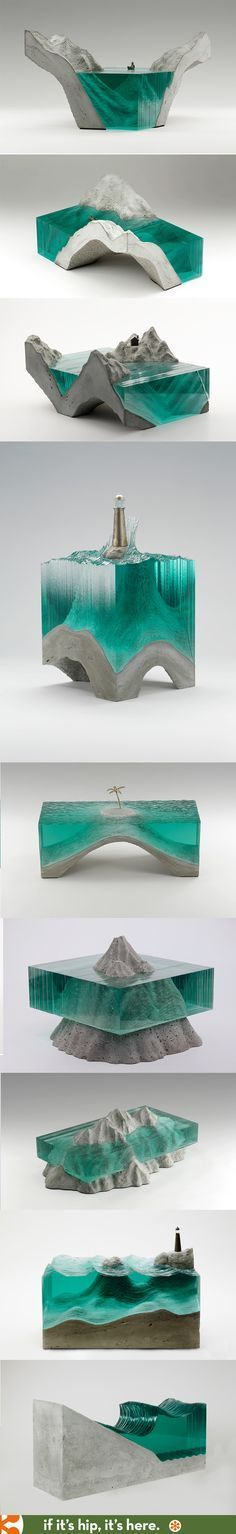 This is a series of sculptures made by Ben Young that demonstrate different levels of water and the world.