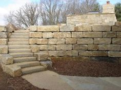 Large Block Limestone Retaining Wall - But prefer non-curving stairs