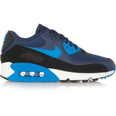 Nike Air Max 90 Essential leather, mesh, rubber and suede sneakers ($88) ❤ liked on Polyvore featuring shoes, blue, real leather shoes, nike footwear, mesh shoes, suede shoes and leather shoes