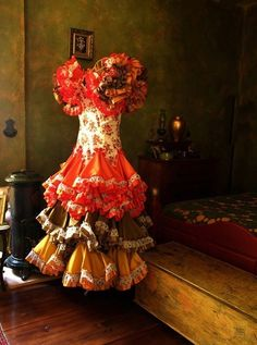 Flamenco Dress in Bedroom - Spain 2008 Photograph by opart