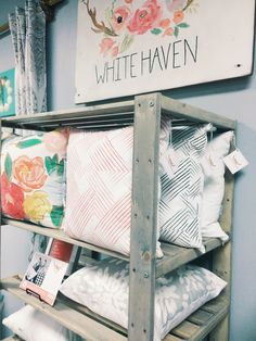 White Haven Designs. Pop Up Shop. Etsy Shop in RVA Antiques. Handmade Pillow Covers $30.  #popupshop #etsy #diypillows #diydesign #charity #whd #whitehavendesigns #interiordesign #redecorate #etsystore #pillows #smallbusiness #womeninbusiness #summer #spring #winter #fall #fashion