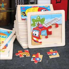 3D Wooden Puzzle Jigsaw Toys For Children Wood 3d Cartoon Animal Puzzles Inte TP