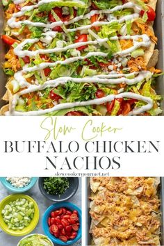 The snack you'll want to eat as a meal! Make my Slow Cooker Buffalo Chicken and eat like a rockstar all week by making recipes like these Slow Cooker Buffalo Chicken Nachos! Yummy Appetizers, Appetizers For Party, Appetizer Recipes, Slow Cooker Recipes, Crockpot Recipes, Buffalo Chicken Nachos, Recipe Using Chicken, Tailgate Food, Vegetarian Options