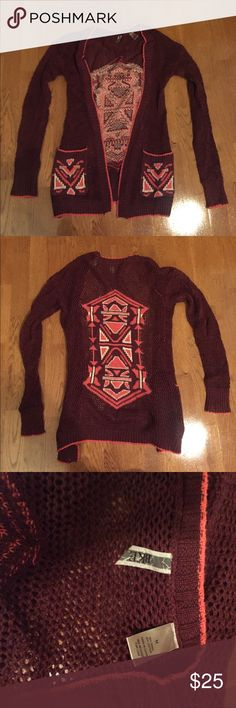 Maroon and salmon holey BKE cardigan Adorable Aztec maroon and salmon holey BKE cardigan. Great condition! BKE Sweaters Cardigans