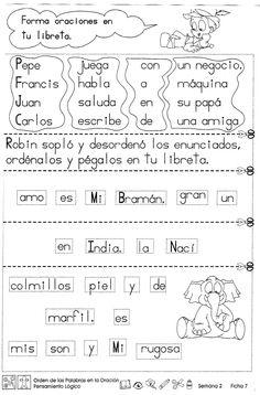 """Orden de las palabras en la oración """"2do grado"""" - Material de Aprendizaje"""
