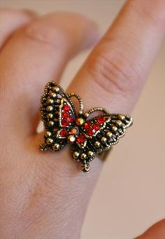 Vintage Crystal Butterfly Ring