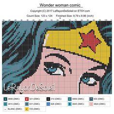 Pop Wonder Woman Modern cross stitch pattern  instant | Etsy