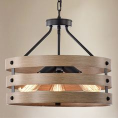 Shop for Fleur 16 Inch Matte Black and Imitation Wood Grain With 3 Light Drum Chandelier. Get free delivery On EVERYTHING* Overstock - Your Online Ceiling Lighting Store! Orb Pendant Light, 3 Light Chandelier, Room Lights, Ceiling Lights, Ceiling Fan Price, Farmhouse Chandelier, Light Bulb Wattage, Dining Room Lighting, Light Shades