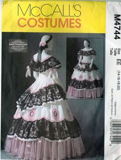 civil war historical gowns and dresses | McCall's 4744 Historical Costume Pattern: Civil War Ball Gown and ...