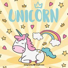 Background with stars and hearts with hand drawn unicorn Free Vector Unicorn Horse, Unicorn Face, Baby Unicorn, Cute Unicorn, Rainbow Unicorn, Unicorn Party, Unicorn Graphic, Cartoon Unicorn, Holographic Background