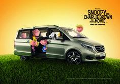 Charlie Brown e Snoopy sono già in viaggio a bordo di una Mercedes-Benz Classe V