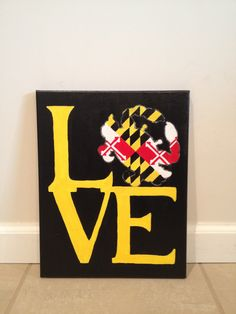 Maryland flag LOVE canvas Inspired by Free State Clothing Crafts By Coffey