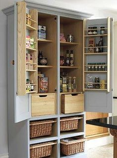 Free standing pantry made from a recycled TV armoire!
