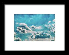 White Cumulus Clouds On Blue Sky Framed Print
