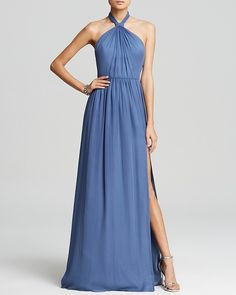 Jill Jill Stuart Gown - High Twist Halter Neck Silk Chiffon Open Back
