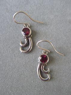 Sterling Silver Rhodolite Garnet Earrings by RichelleJewelry, $108.00