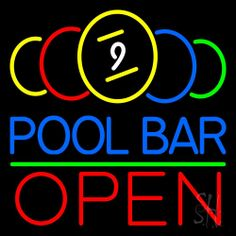 Pool Bar Open Neon Sign 24 Tall x 24 Wide x 3 Deep, is 100% Handcrafted with Real Glass Tube Neon Sign. !!! Made in USA !!!  Colors on the sign are Yellow, Red, Green, White And Blue. Pool Bar Open Neon Sign is high impact, eye catching, real glass tube neon sign. This characteristic glow can attract customers like nothing else, virtually burning your identity into the minds of potential and future customers.
