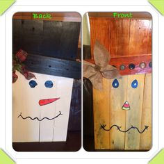 Two sided snowman/scarecrow