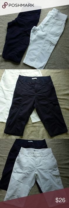 ☆Limited Time Special☆ Navy & White Cargo Capris ☆☆☆Act fast!!! This low price is available only for a limited time! Don't forget to bundle to save an additional 15% off. Happy Poshing!☆☆☆  Excellent Like new condition Lee Easy Fit cargo capris. Has elastic waist and snap buttons. Very cute, versatile and comfy!  Comes in white and navy blue. Size 12. Lee Pants Capris
