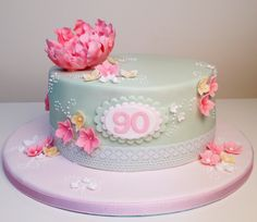 90th birthday cake inspired by Pinterest and made by Flossie Pops Cakery