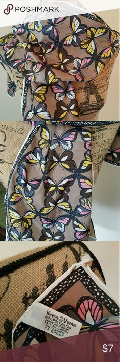 """Vintage Vera Neumann Scarf Very cute Vera Neumann Butterfly Scarf. Measures approximately 53"""" X 10"""".  This versatile scarf is pink, gray, brown, yellow black and white.   Does have one condition issue.  The corner above the tag is frayed. Vera Neumann  Accessories Scarves & Wraps"""