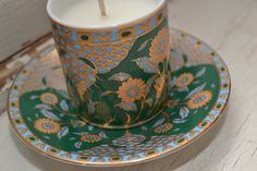 Candle in a demitasse with saucer by shopellion on Etsy