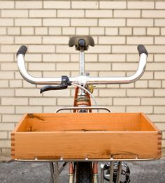 """$90 Wood Porteur Bike Crate designed to fit perfectly on a Velo Orange Porteur Rack. Outside dimensions are approximately: 2.5""""x11""""x14"""".  In different finishes + taller size too.  Includes mounting hardware.  By Surname Goods Co. handmade outfitters long island city, queens"""