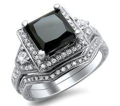 2.0ct Black Princess Cut Diamond Engagement Ring Bridal Set 14k White Gold Front Jewelers