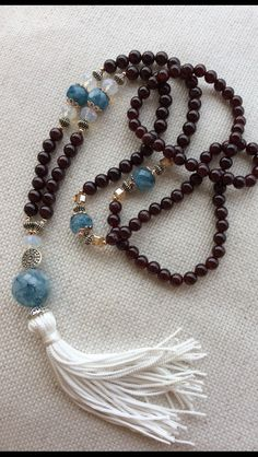 Japamala 108 - grenade stone and blue quartz Necklace Tassel