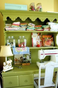Sewing Station -- one day I will be a super crafty mama Sewing Desk, Sewing Spaces, My Sewing Room, Sewing Rooms, Sewing Tables, Sewing Cabinet, Sewing Station, Coin Couture, Ideas Para Organizar