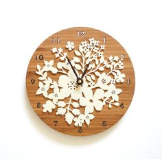 Laser Cut bamboo finished Clock with white ornament