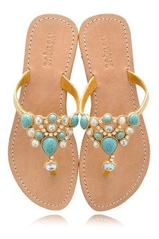 MYSTIQUE Turquoise Jeweled Sandals - SHOES | SANDALS | PRET-A-BEAUTE.COM