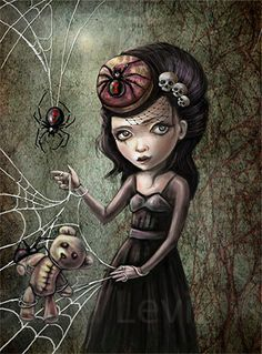 Black Widow Girl  8.5 x 11 Print  Spider Mistress by DianaLevinArt, $15.00