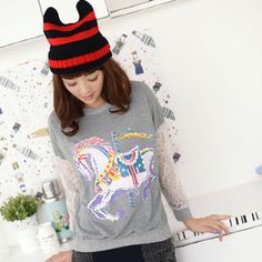 Buy '59 Seconds – Lace Panel Horse Print Pullover' with Free International Shipping at YesStyle.com. Browse and shop for thousands of Asian fashion items from Hong Kong and more!