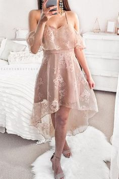 Low Spaghetti Straps Blush Lace Homecoming Dress with Ruffles modest pink lace high low prom party dresses, spaghetti straps a line homecoming dresses,summer skirts Cheap Party Dresses, Sexy Dresses, Dress Outfits, Evening Dresses, Casual Dresses, Short Dresses, Fashion Dresses, Skater Dresses, Mini Dresses
