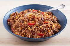 Start with a few simple on-hand ingredients and get cooking!  You'll end up with a beef and rice dish that's ready when you get home.